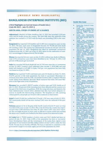 BEI Weekly News Highlights: Brief Highlights on Current Issues of South Asia, July 08, 2021-July 15, 2021