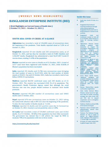 BEI Weekly News Highlights: Brief Highlights on Current Issues of South Asia, October 15, 2021-October 21, 2021